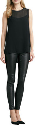 Vince Sheer Silk Tank, Black