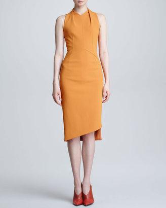 Narciso Rodriguez Sleeveless Crepe Dress, Tangerine