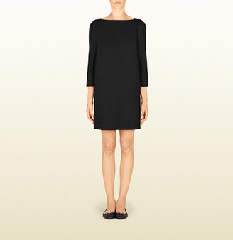 Gucci Women's Black Wrinkle Free Wool Shift Dress From Viaggio Collection