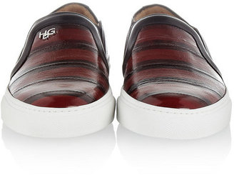 Givenchy Skate shoes in black and dark red striped eel with white rubber soles