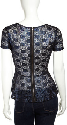 Romeo & Juliet Couture Metallic Lace Peplum Top, Navy