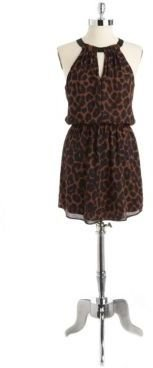 Eight Sixty Animal Print Halter Dress