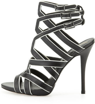 Brian Atwood Carbinia Triple-Buckle Cage Sandal, Black/White
