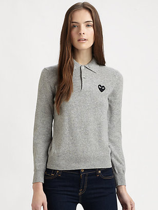 Comme des Garcons Wool Heart Polo Sweater