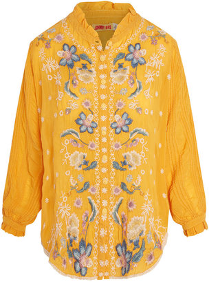 Johnny Was Plus Size Tove Floral Embroidered Ruffle-Neck Top