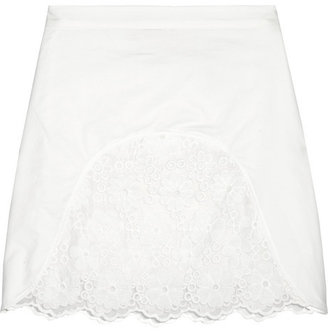 See by Chloe Embroidered voile and cotton mini skirt