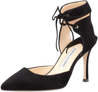 Manolo Blahnik Lara Suede Ankle-Tie Pump, Black