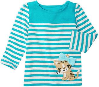 Gymboree Bow Leopard Kitty Stripe Tee