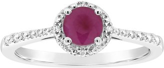 Sterling Round Birthstone Ring with Diamond Accents