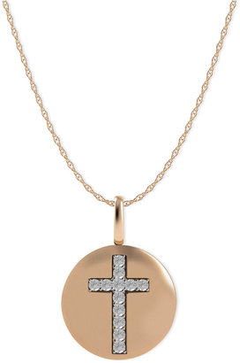 14k Rose Gold Necklace, Diamond Accent Cross Disk Pendant