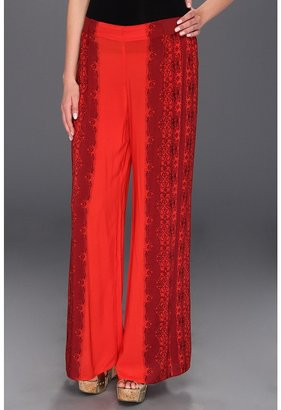 Free People Printed Wide Leg Pant (Red Combo) - Apparel