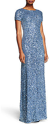 Adrianna Papell Short-Sleeve Sequined Long Skirt Gown $280 thestylecure.com