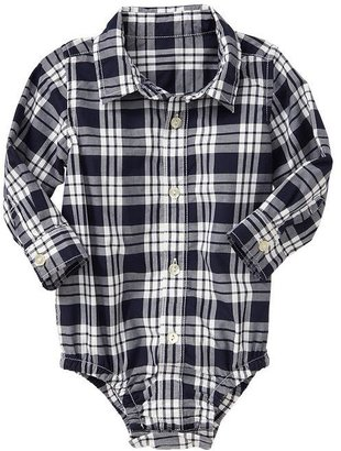 Gap Plaid button-up bodysuit