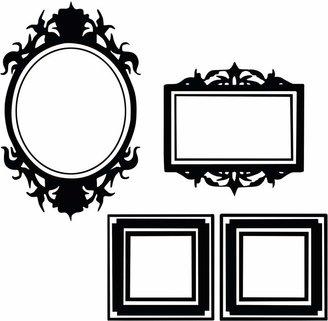 Vinyl Design Set of Frames Wall Decals, Black