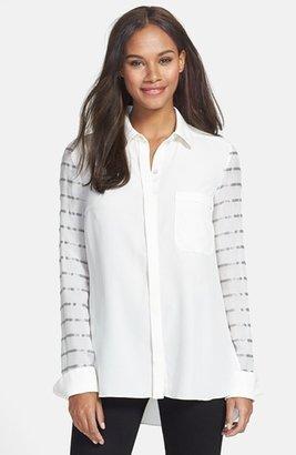 Rachel Roy Mix Stripe Silk Blouse