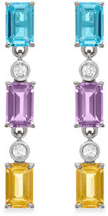 Brodie Eternities by Carol TM) Linear Earrings in Blue and White Topaz, Pink Amethyst and Citrine