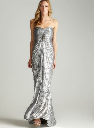 Adrianna Papell Strapless Draped Mermaid Gown