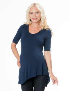 A Pea in the Pod Elbow Sleeve Scoop Neck Uneven Hem Maternity T Shirt