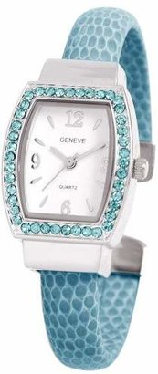 EWatchFactory Women's 0914BG0012 December Birthstone Simulated Leather Bangle Cuff Watch
