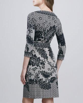 Diane von Furstenberg Inari Flutter Lace-Print Silk Wrap Dress