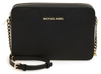 Michael Michael Kors 'Large Jet Set' East/west Saffiano Crossbody Bag - Black $148 thestylecure.com