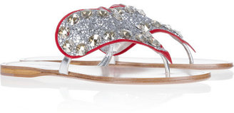 Miu Miu Crystal-embellished glitter-finished leather heart sandals