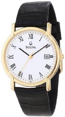 Bulova Men's 97B13 Black Tortoise Shell Leather Strap Watch