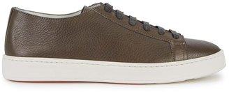 Santoni Brown Grained Leather Sneakers