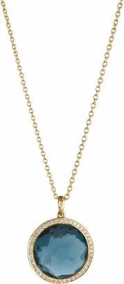 Ippolita 18k Gold Rock Candy Mini Lollipop Diamond Necklace in London Blue Topaz