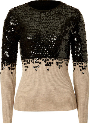 Moschino Cheap & Chic Nude and Black Sequin-Embellished Wool Pullover