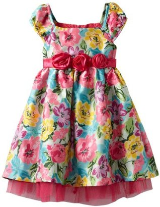 Nannette Girls 2-6X Colorful Floral Print Dress With Tulle
