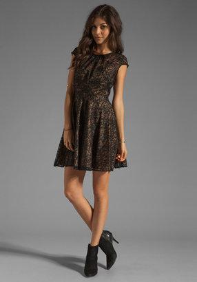Shoshanna Floral Metallic Lace Heidi Dress