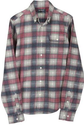 Michael Bastian GANT by Printed Flannel Buttondown Shirt in Burgundy & Blue