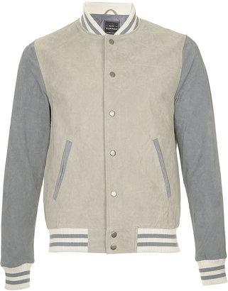 Topman Grey Blue Suede Tipped Bomber Jacket