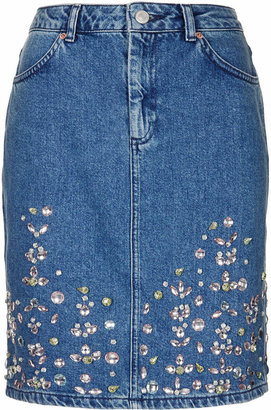 Topshop Moto embellished hem skirt