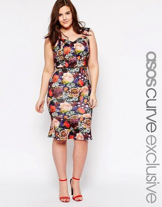 Asos co-ord Exclusive Peplum Pencil Skirt in Jewel Rose Print