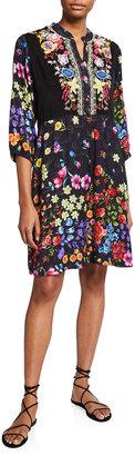 Johnny Was Plus Size Ciara Floral-Print Dress w/ Slip