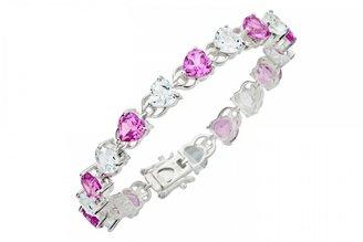Ice.com 25 7/8 Carat Created Pink Sapphire & White Topaz Sterling Silver Bracelet