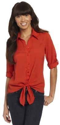 Amy Byer A. Byer Juniors 3/4 Sleeve Hight Low Button Up Top