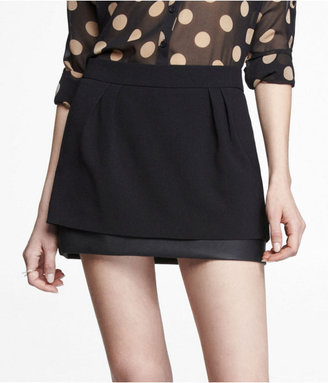 Express (Minus The) Leather Trim Double Layer Mini Skirt