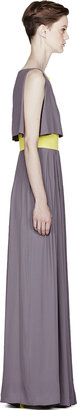 Roksanda Ilincic Grey & Chartreuse Silk Marlin Dress