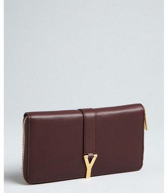 Saint Laurent bordeaux leather y-buckle strapped zip continental wallet