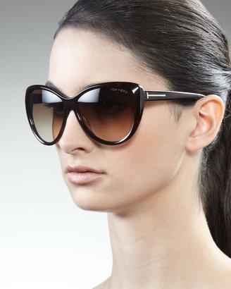 Tom Ford Malin Cat-Eye Sunglasses, Havana