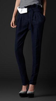 Burberry Gathered Waist Silk Linen Trousers