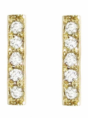 Jennifer Meyer Diamond Bar Stud Earrings - Yellow Gold