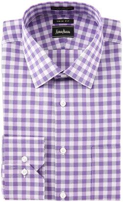 Neiman Marcus Check Dress Shirt, Purple, Trim Fit