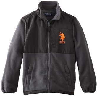 U.S. Polo Assn. U.S. Polo Association Big Boys' Polar Fleece Jacket with Ripstop Trim