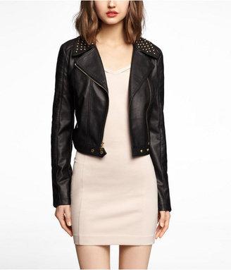 Express (Minus The) Leather Studded Cropped Moto Jacket