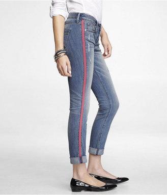 Express Stella Rolled Side Stripe Ankle Skinny Jean