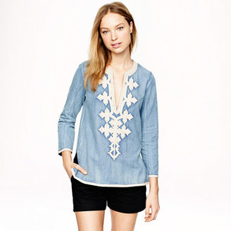 J.Crew Embroidered tunic in chambray